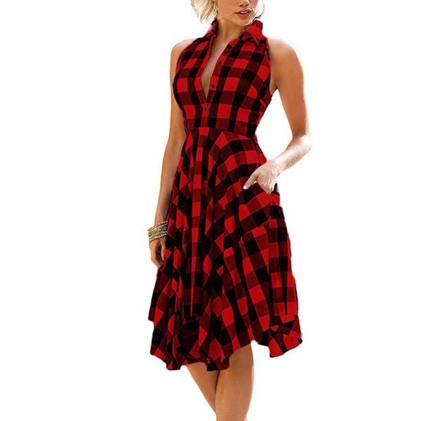 Sleeveless Grid Fashion Woman Skater Dress