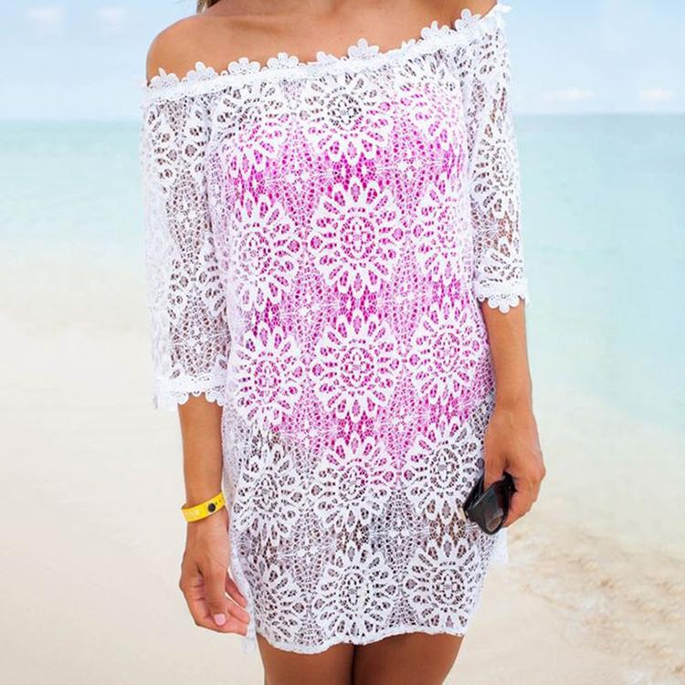 Sexy Lace Off Shoulder Hollow Bikini Smock