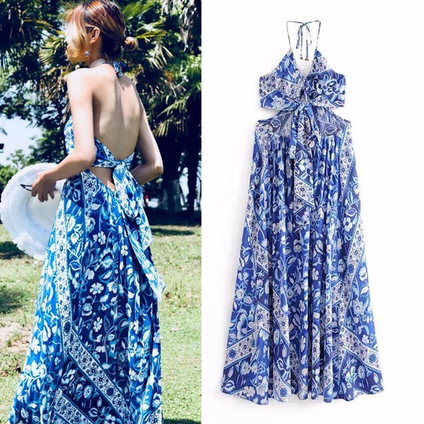 Fashion Printed Halter Bohemian Dress