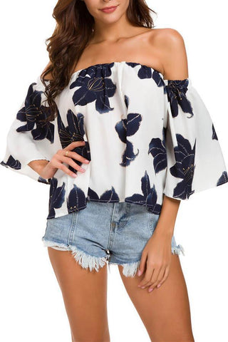 Sexy Off Shoulder Print T-Shirts