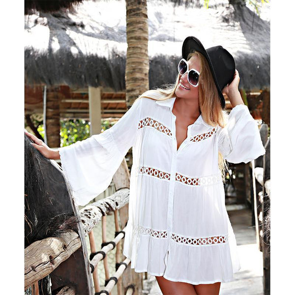 Deep V Neck  Patchwork Plain  Long Sleeve Casual Dresses