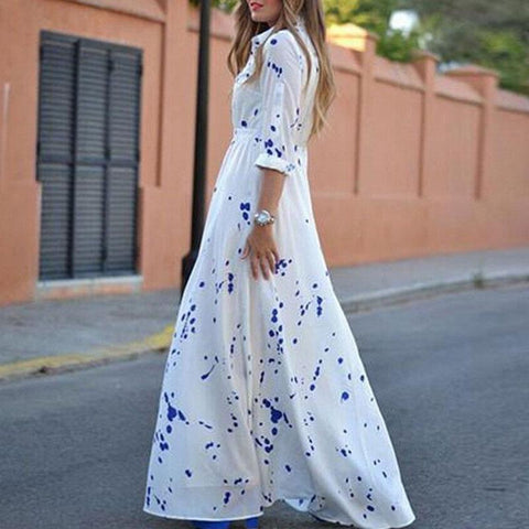 Print Waist Long Sleeved Shirt Single Maxi Dress