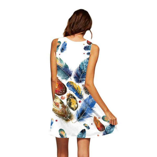 Printed Round Neck Strapless Dress