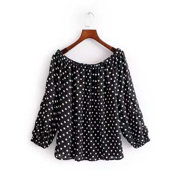 Retro Polka Dot Print Off-Shoulder Shirt