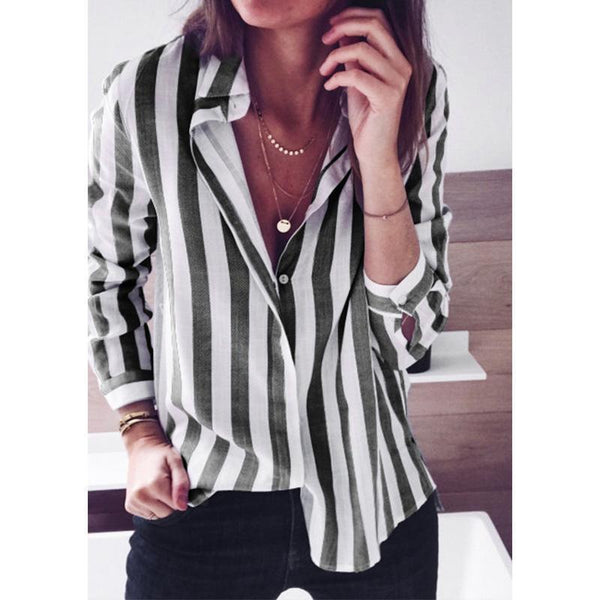 Fashion Stripes Long Sleeve Blouse