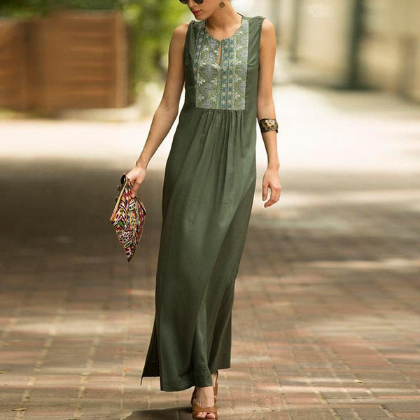 Cotton Casual Round-Neck Maxi Dress