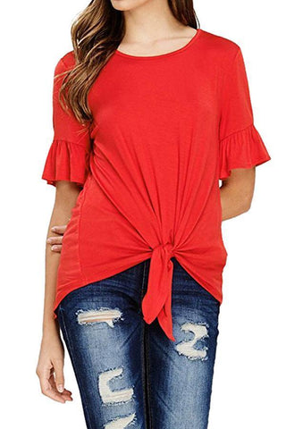 Stylish Bell Sleeve Plain T-Shirts