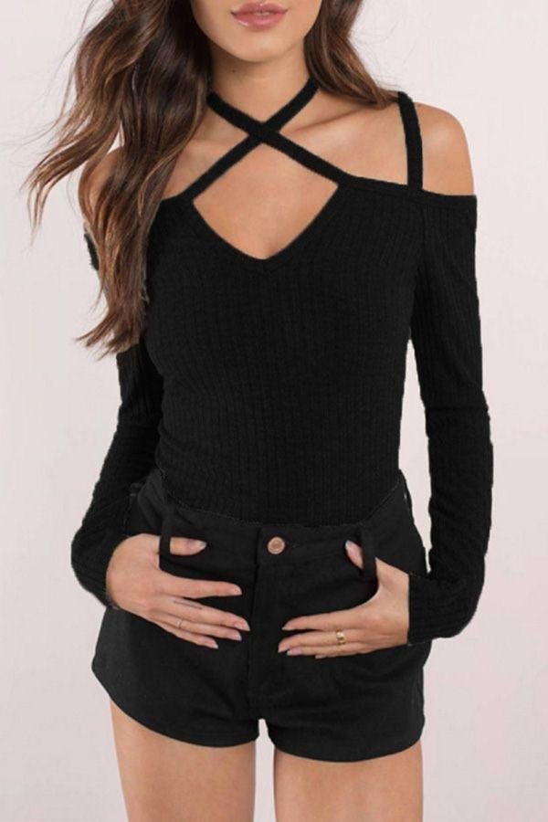 Crossed Big Backless Sexy Tight Long Sleeves