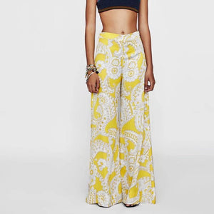 Printed Casual Plain Wide Leg Pants