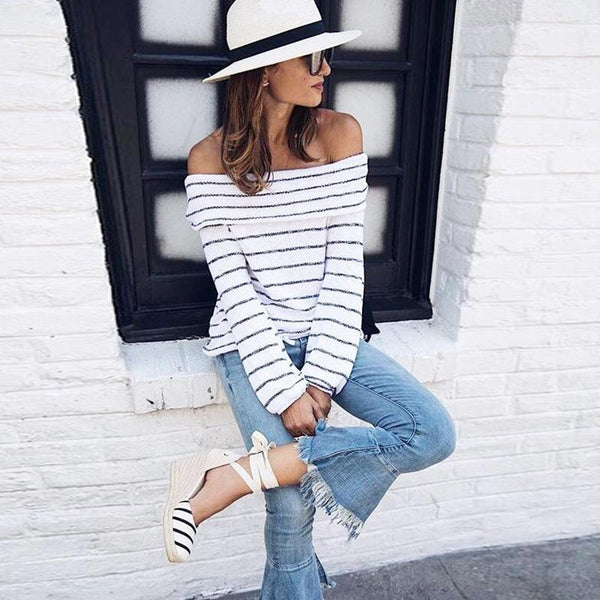 Off Shoulder Stripes Long Sleeve Casual Sweater