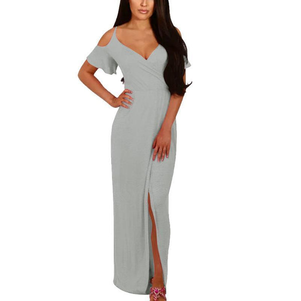 Women Sexy Off Shoulder Strap Split Maxi Dress