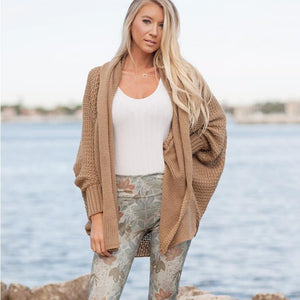 Plus Size Knitted  Long Sleeve Sweater Outwear Cardigan