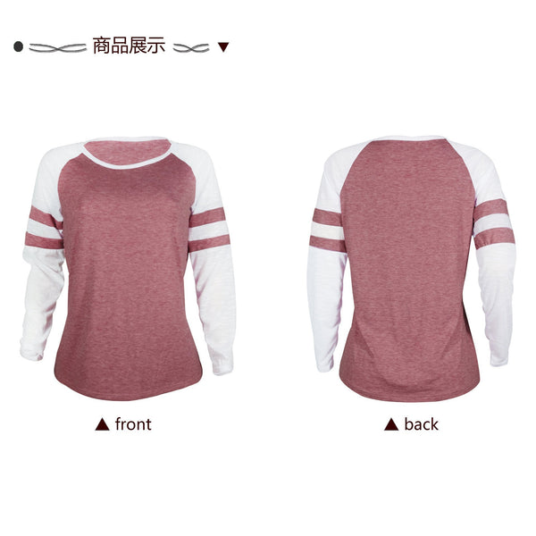 Tri-Color Striped Stitching Long-Sleeved T-Shirt