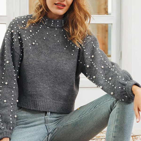 Round Neck Pullover Loose Sweater Short Pearl Decorative Sweater