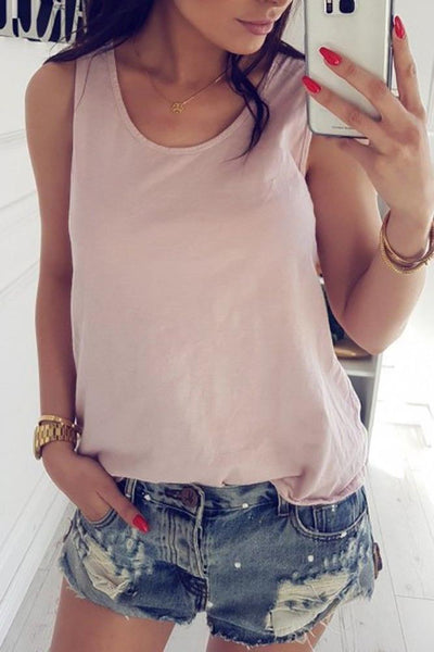 Decorative Lace Hollow Out Plain Sleeveless T-Shirts