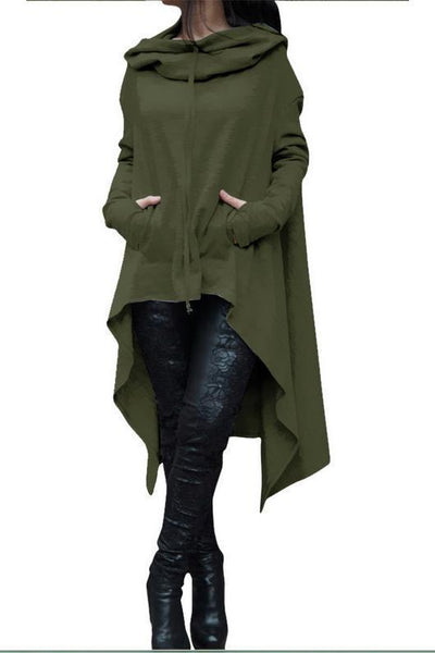 Long Sleeve Poncho Coat Hooded Sweatshirts Coat