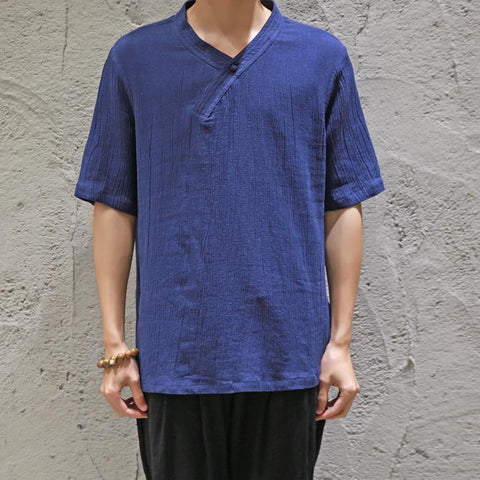 Casual Loose Plain Cotton And Linen Shirt