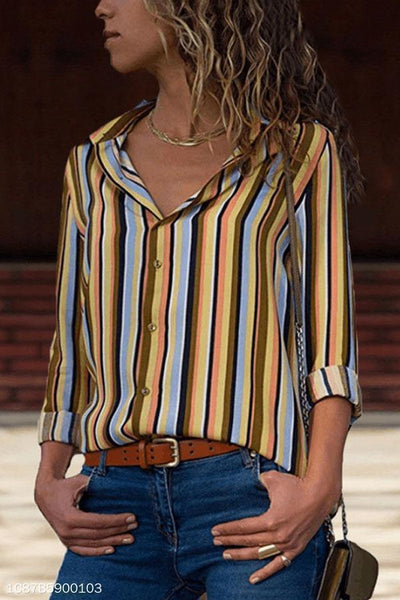Turn Down Collar  Asymmetric Hem Single Breasted  Striped  Blouses