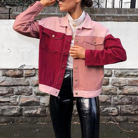 Lapel Long Sleeve Pocket Color Block Fashion Jackets
