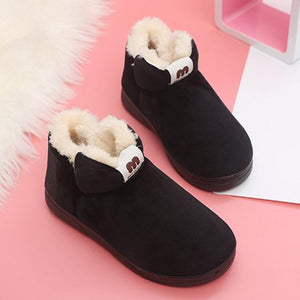 Plain  Flat  Velvet  Round Toe  Casual Ankle Boots