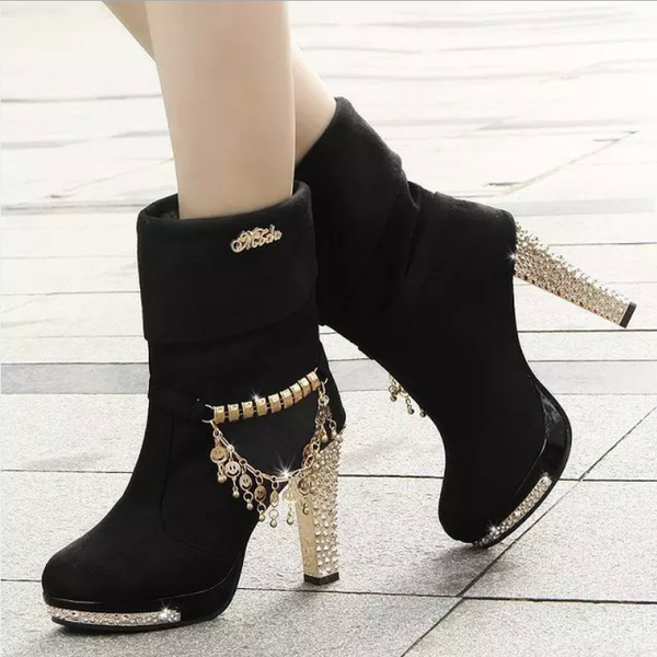 Stylish High Heel Nubuck Sequins Boots High Platform Ankle Boots