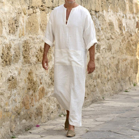 Casual Mens Cotton/Linen Loose Long Shirt
