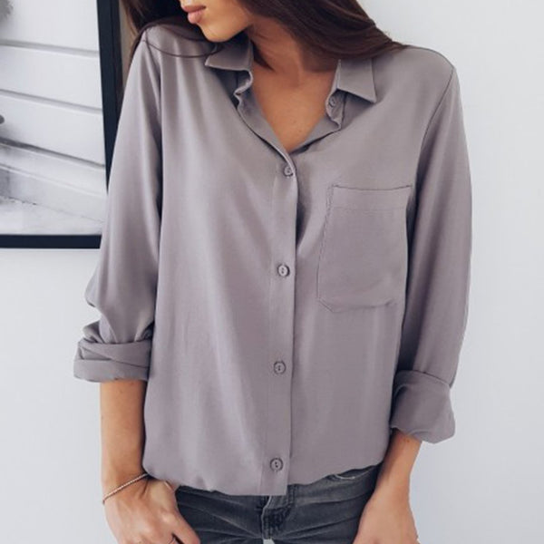 Solid Color Long Sleeve Button Pocket Chiffon Shirt
