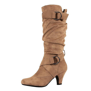 Plain  Chunky  High Heeled  Velvet  Round Toe  Date Outdoor  Knee High High Heels Boots