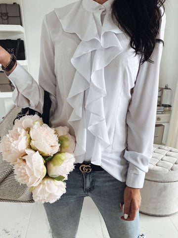 Band Collar  Flounce  Plain Shirts&Blouses