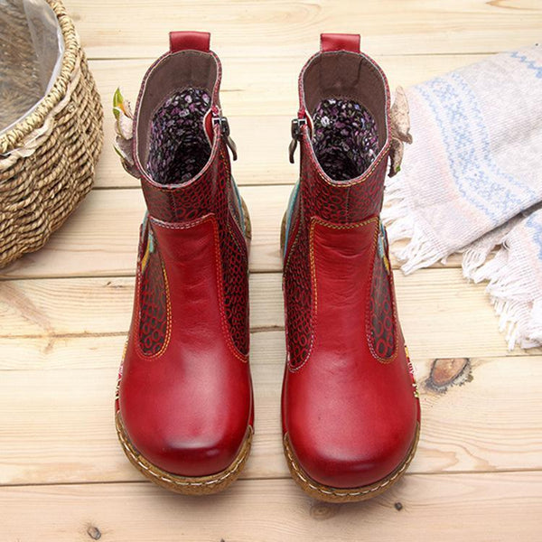 Casual Retro Ethnic Style Leather Platform Comfortable Women's Boots