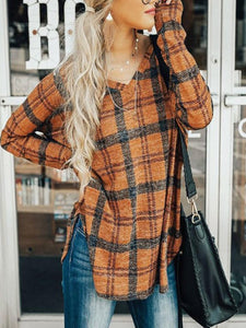 V-Neck  Side-Vented  Plaid Shirts&Blouses