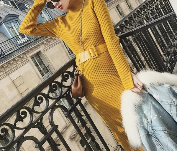 Pure Color Sexy Bag Butt Long Sleeve Knitted Maxi Dress