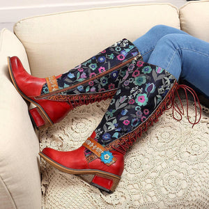 2018 New Casual Vintage Ethnic Leather Boots And Knee Boots