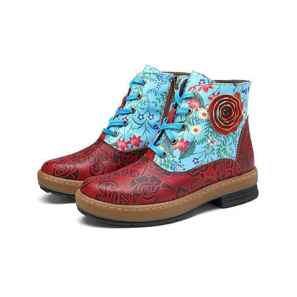 Casual Flower Print Leather Stitching Flat Boots