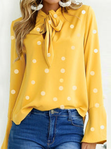 Autumn Spring  Women  Tie Collar  Polka Dot  Bell Sleeve  Long Sleeve Blouses