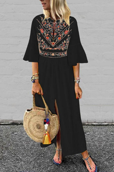 Deep V Neck  Slit  Floral Printed  Bell Sleeve  Long Sleeve Maxi Dresses