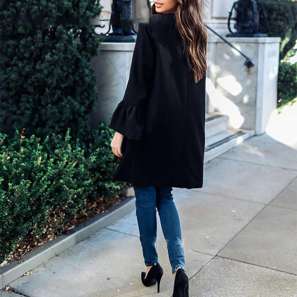 Black Round Neck Pocket Coat