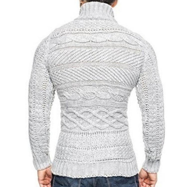 Fashion Chic Mid-High Collar Long Sleeves Knitting Shirt