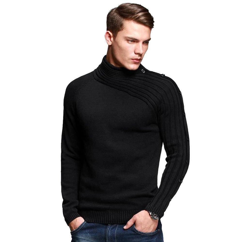 Winter Plain High Collar Plain Knit Shirt