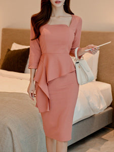 Boat Neck  Flounce  Plain Bodycon Dress