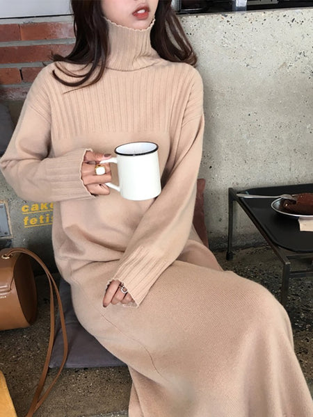 Fashion High Collar Pure Colour Knitted Dress