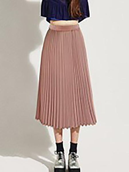 Ruffled Hem  Plain Midi Skirts