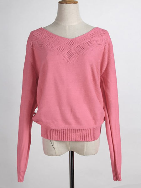 V-Neck  See-Through  Crochet  Hollow Out Sweaters