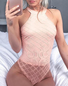 Halter  See-Through  Plain Sexy Lingerie