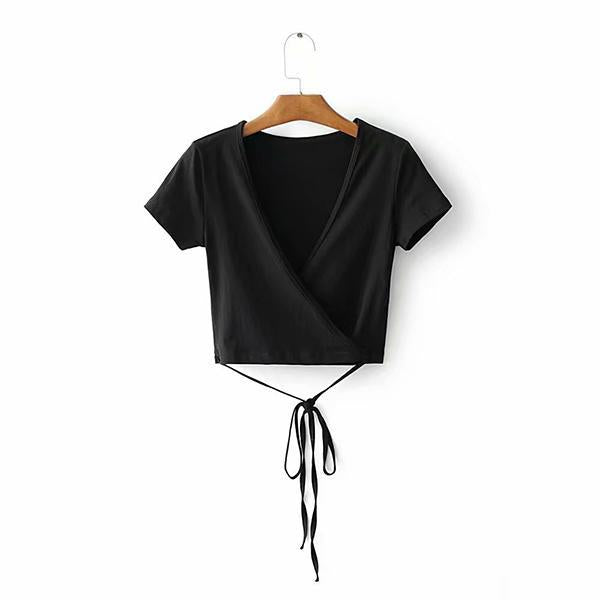 V-Neck  Belt  Plain Casual T-Shirts