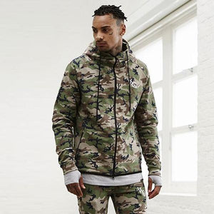 Loose Camouflage Fitness Zip Hooded Jacket