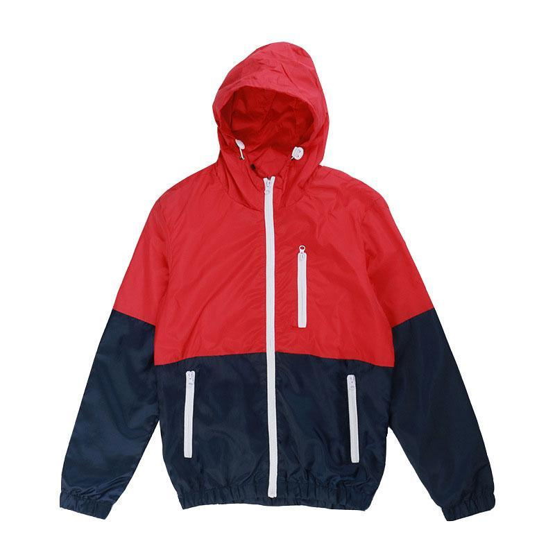 Fashion Outdoor Windproof Sunscreen Colorblock Hooded Jacket