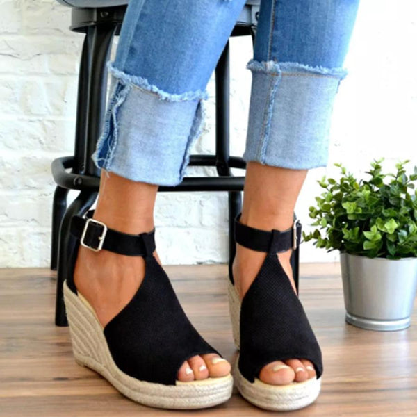 Plain Velvet Peep Toe Date Wedge Sandals