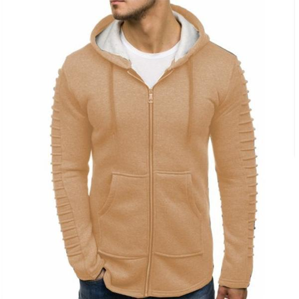 Men's Fashion Solid Color Pleated Zip Hooded Jacket