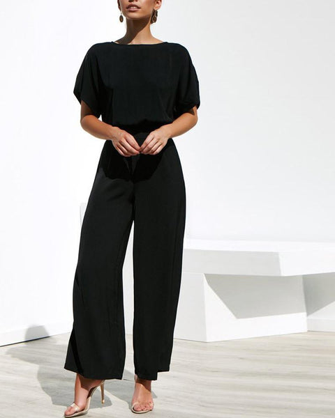 Short-Sleeved Shirt With Waistband Trousers Suit